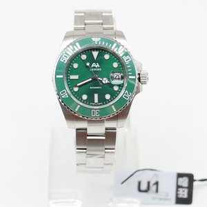 U1 Fabrikası Marka AEHIBO Safir Cam Hulk Seramik Bezel 116610LN 116610 Otomatik Hareketi Saatler Çelik ST9 Glide toka Man saatı