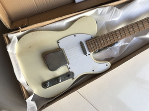 60 sur mesure limitée Maître construite Relic blanc crème Tele TL Guitare électrique Big Bridge Cover Corps en aulne, Vintage Tuners, vieilli Hardware Chrome