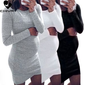 Chivry 2020 New Women Pregnancy Dress Casual Long Sleeve O-neck Solid Mini Dress Nursing Maternity Clothing Dresses Vestidos