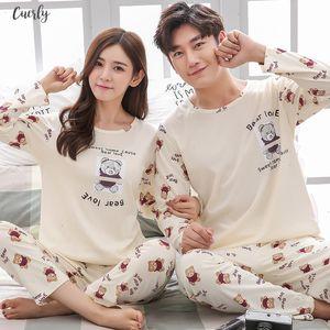 Pajamas Couple Set Spring And Autumn 100% Cotton Full Cartoon Women Pyjamas Plus Size M 3Xl Long Sleeve Sleepwear Men Lounge Pijama