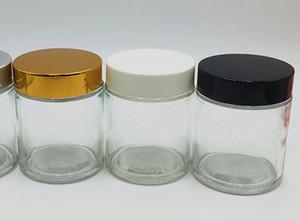 100 ml 100 g de vidrio transparente vela frasco de vidrio con tapa de tapa de oro blanco y negro de gran tamaño recipiente de vidrio cosmético almacenamiento de almacenamiento