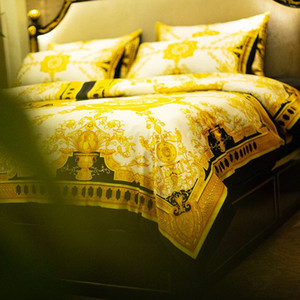 2019 Super luxury European Style Luxury Gold Bedding set Fashion Bed King Queen Size Duvet Cover Set Brand Design oil Print Bedding Sets