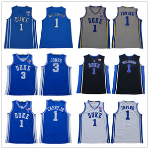 jersey de Duke Blue Devils Kyrie Irving 1 Sion Williamson NCAA Masculino de 3 Tre Jones # 1 Vernon Carey Jr. baloncesto jerseys universitarios cosido parches