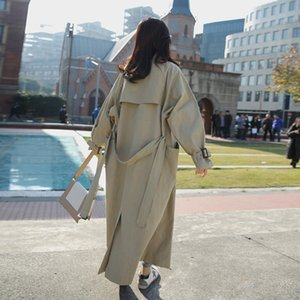 edition of new fund of 2020 autumn long loose dust coat whom British wind over-the-knee overcoat college students wind