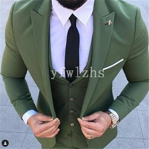 New Style One Button Handsome Peak Lapel Groom Tuxedos Men Suits Wedding Prom Dinner Best Man Blazer(Jacket+Pants+Tie+Vest) W207