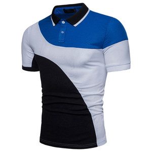 Men's European code arc color matching European and American shirt short-sleeved lapel T-shirt
