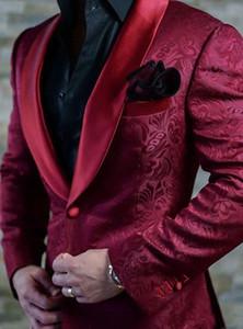 2019 Moda Borgonha Paisley Casamento Smoking Estilo Britânico Custom Made Mens Terno Slim Fit Blazer Ternos de Casamento Para Homens (Terno + Calça)