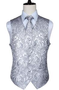 Erkekler Klasik Paisley Jakarlı Yelek Yelek Mendil Parti düğün Tie yelek ceket cebinde Kare Seti yelek kore adam moda