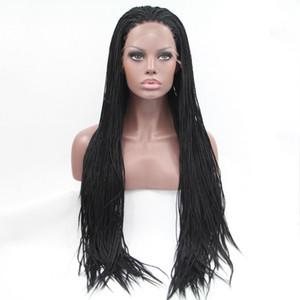 여자 방열 섬유 머리 가발 우수한 끈목 가발을 위한 합성 땋는 레이스 정면 가발