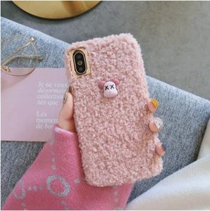 IPhonex winter paragraph following 7 8 plus rabbit wool cloth with soft silicone set of apple xsmax her red xr apply 6 bear