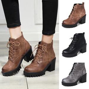 tête ronde Designer-automne bottes moto bottines en cuir à lacets mode chaussures femmes automne hiver de la plate-forme des femmes