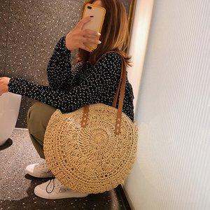 Estilista - Rotim Casual Mulheres Ombro Sacos Círculo Bolsas De Palha Grande Capacidade Handmae Totes De Verão Lady Round Boho Beach Treval Sac # 35