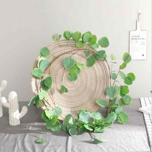 1PCS 1.7M Wedding Party Indoor Home Decoration Artificial Willow Leaf Plants Fake Silk Hanging Plant Rattan Leaves Green Wreath