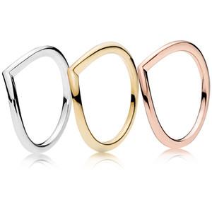Wishbone Bague poli or jaune 18 carats plaqué Anneaux boîte originale pour Pandora Argent 925 Or Rose ensembles femmes anneau de mariage