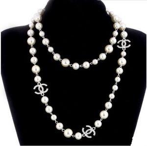 Yeni kadın moda Kolye doğal inci kolye Kazak katmanlı elmas Kolye Ithalat Kristal broş gelin Takı Takı