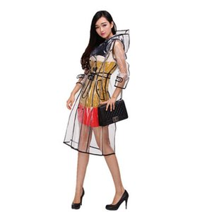 Transparent Long women Raincoat Belt Rain Coat Phoco Waterproof Travel Trench Mujer Fashion Show Rain Poncho Nylon Polyester 6R