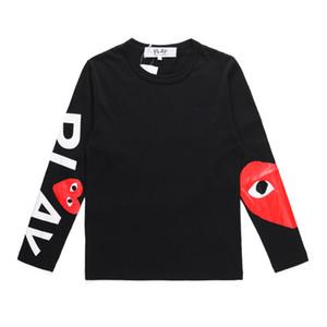 2019 Best Quality Com DES gioca GARCONS CDG HOLIDAY Heart Emoji Unisex PLAY manica lunga des garcons C131A Nero manica lunga T-Shirt