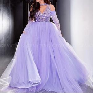 Robe de soiree Dubai светло-фиолетовый бальное платье арабский вечернее платье 2019 элегантный с плеча с длинными рукавами лаванда вечерние платья выпускного вечера