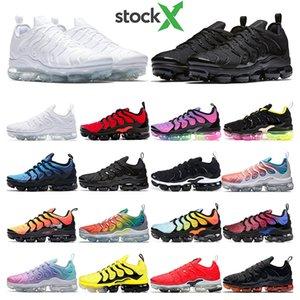 nike vapormax tn plus  Zapatillas de running PURE PLATINUM Rainbow work bule Pink Sea Volt triple blanco negro para mujer deporte zapatillas deportivas 36-45