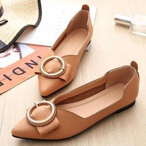 Mokassins Damen Spitzschuh-flache Schuhe Slip-on-Metallschnalle Ballerinas Slipper aus weichem Leder Schuh Shallow Einzelbootsschuh