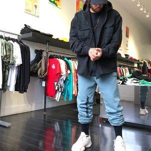 6 cores Kanye West Temporada 6 Calabasas Pants Mens Hip Hop Moda soltas de algodão feixe listrado Streak Oversize Sweatpants Homens M-XL 4wqaa