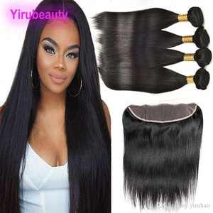 Peruvian Virgin Hair 13x4 Lace Frontal With 4 Bundles 8-28inch Human Haiir Straight Wholesale Hair Wefts With Baby Hair Closure