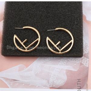 Oro Colore Argento Lady colore esagerato Mezza orecchini a cerchio classico F Lettera delle donne degli orecchini creativo monili di lusso orecchini High End