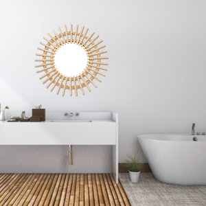 Rattan Innovative Mirror Wall Decor Round Oval Makeup Mirror Dressing Nordic Bathroom Art Decoration Macrame Wall Hanging Mirror