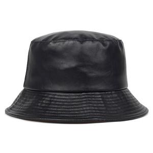 2020 новая шляпа ведро искусственная кожа ведро шляпы PU хлопок сплошной топ мужская и женская мода ведро шапка рыбацкие шапки