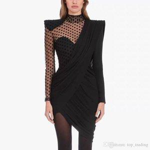 womens fashion designer party dresses Sexy irregular wave point mesh yarn splicing trim body cover hip drape bodycon black dress DS35