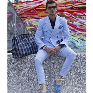 Mens Summer Mens Suits Seersucker Leisure Beach Groom Wedding Double Wedding Men Wedding Tuxedo Blazer Prom Dinner(Jacket+Pants)