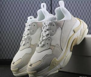 Yeni varış 2019 INS Paris 17FW Üçlü S SİYAH GÜL FLUO BLANC Koşu Ayakkabı Bej Siyah Kalın Topuk Büyükbaba Baba Unisex Eğitmeni Sneakers