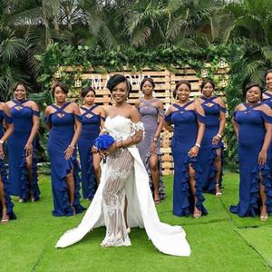 Onur Elbise Mavi Denizkızı Gelinlik Modelleri Yan Bölünmüş Criss Çapraz sapanlar Ruffles Sweep Tren Garden Country Wedding Guest Önlük Hizmetçi