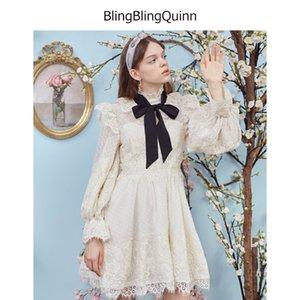 Nuovo stile autunno pizzo Pizzo Capo see-through manica lunga lanterna cinturino grande swing vento della principessa della maglia vestito A50 XSQ
