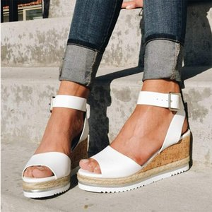Wedge Fish Mouth Open Toe Women Buckle Rubber Sandals Golden Ankle Strap PU Lady Solid High Heel Shoes D25 Y200620