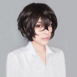 Nuovo arrivo Anime Bungo Stray Dogs Dazai Osamu corti castani ricci Capelli calore costume cosplay resistente Wig + traccia + Cap