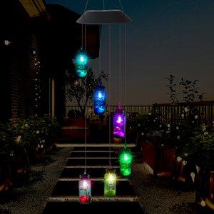 LED Güneş Işık Açık Rüzgar Çanları Ev Bahçe Yard Parti Düğün Dekor için romantik dileyerek Şişe Denizyıldızı Windbell Dize Lambası Işıklar