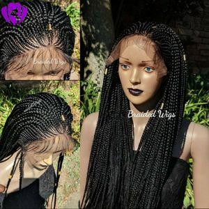 Stok Siyah / Kahverengi / Sarışın Sentetik Örgülü Dantel Ön Peruk Siyah Kadın Için Isıya Dayanıklı Tam Örgü Peruk Premium Örgülü Kutu Örgüler Peruk