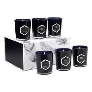 Navidad cera de soja vela perfumada Conjunto de cristal Copa de aromaterapia Velas 6 PC / sistema de aromaterapia día de la boda de San Valentín regalos de Navidad de la vela