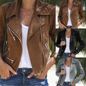 Casual revestimento das mulheres PU Leather Jackets Brasão Sólidos Slim Fit lapela Zip Up Biker Motorcycle Jacket Arrefecer Casacos roupa do outono