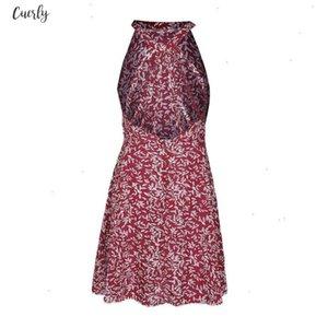 Dress Women Beach Summer Dresses Chiffon Print O Neck Spaghetti Strap Backless Bandage Bohemian Vintage Vestido May816 Designer Clothes