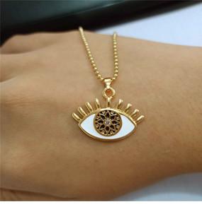 Collana per occhi color oro per donne Collane con pendente a catena lunga in cristallo turca con occhio alla moda Gioielli con strass Collier Ch4 T463