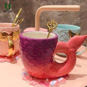 UNTIOR 420ml Creative Mermaid Mug Pearl Glaze Gold Handle Cerámica Mermaid Tail Coffee Mug Regalo para cumpleaños Boda Taza de cerámica