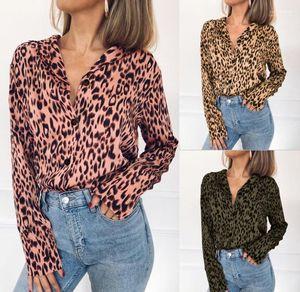 Scollo a V camicetta chiffona primavera-estate del leopardo 19ss Camicie Autunno MANICA LUNGA camicette Donne