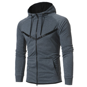 Casual Mens Designer Hoodie Stand Collar Solid Color Long Sleeve Hooded Cardigan Sweatshirt New Mens Outdoor Sportswear