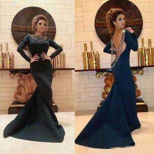 Navy Blue Mermaid vestiti da sera sexy 2020 NUOVO aperto indietro con perline manica lunga Jersey lungo arabo Pageant Prom Gowns