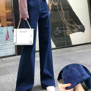 Mulheres perna larga Calças soltas de algodão Corpo Inteiro botão leve Bleach Wash Zipper cintura alta Lavados bolsos revestidos