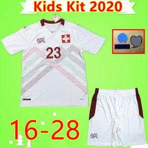Enfants Kit 2020 2021 blanc Suisse Soccer Jersey 20 21 SEFEROVIC FREULER SHAQIRI LANG garçons suisse enfants costume mis shirt football