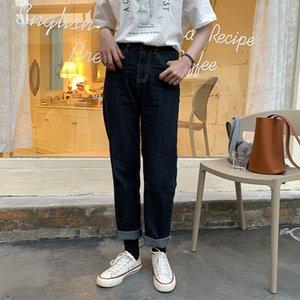 HXJJP primavera 2020 nueva versión coreana de pantalones rectos casuales para mujeres y pantalones vaqueros de cintura alta para mujeres
