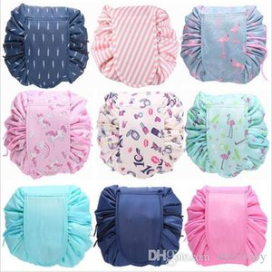 Lazy Makeup Bags Organizer Drawstring Cosmetic Bag Animal Flamingo Travel Make Up Pouch Storage Wash Bag Toiletry Kit Case Gift BYP4759